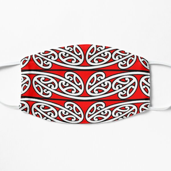 Kowhaiwhai Pattern, Mangopare, Version 5, Red, Large Flat Mask