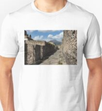 Ancient Pompeii - Empty Street and Mount Vesuvius Volcano That Caused it All Unisex T-Shirt