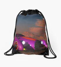 Grobo Car in a Desert Setting Drawstring Bag