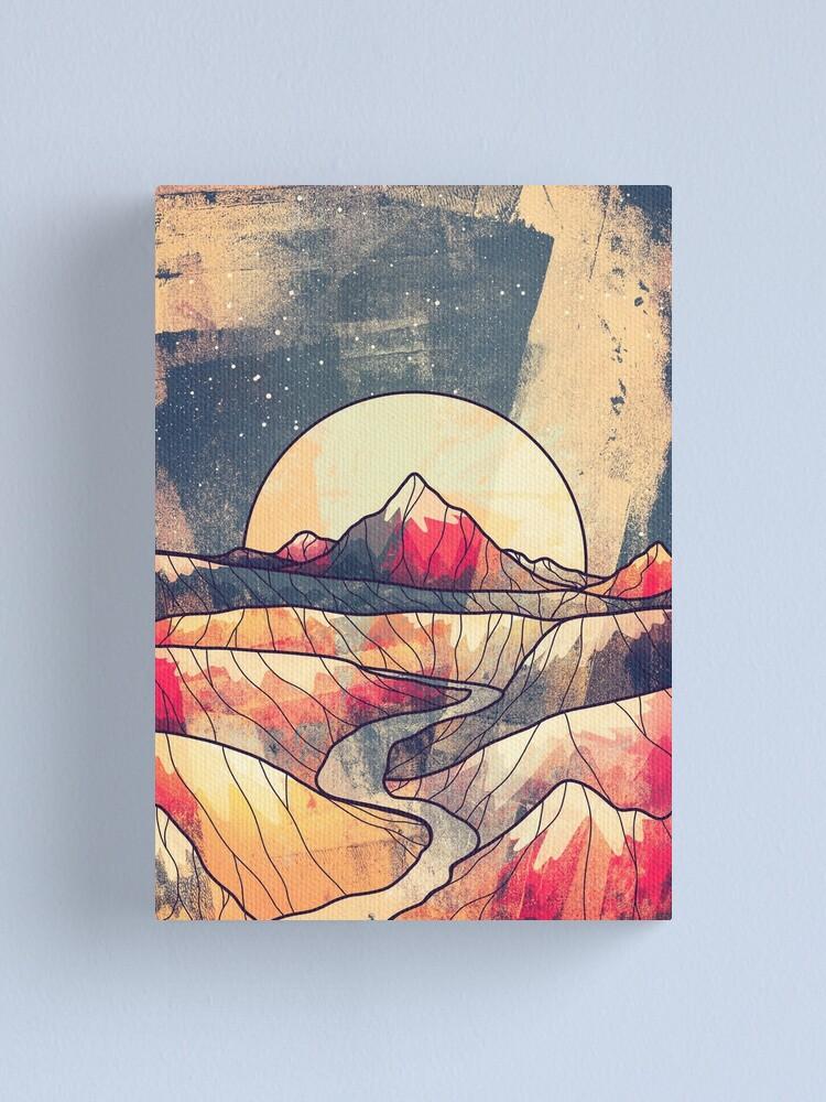 Alternate view of Retro river mountains Canvas Print