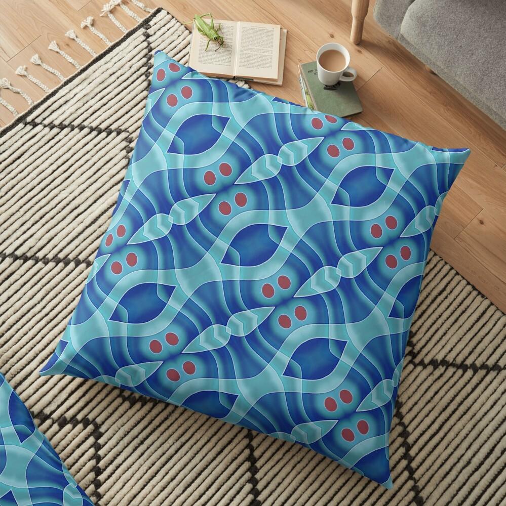Modern Abstract Blue Grey Pattern Design 472 Floor Pillow