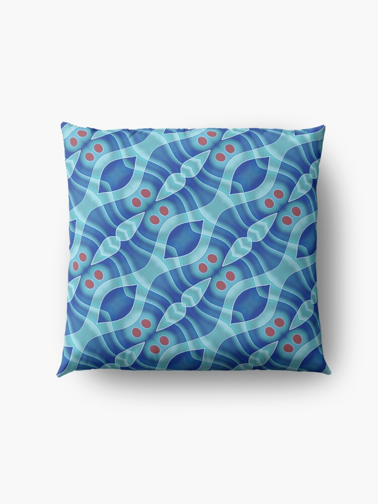 Alternate view of Modern Abstract Blue Grey Pattern Design 472 Floor Pillow