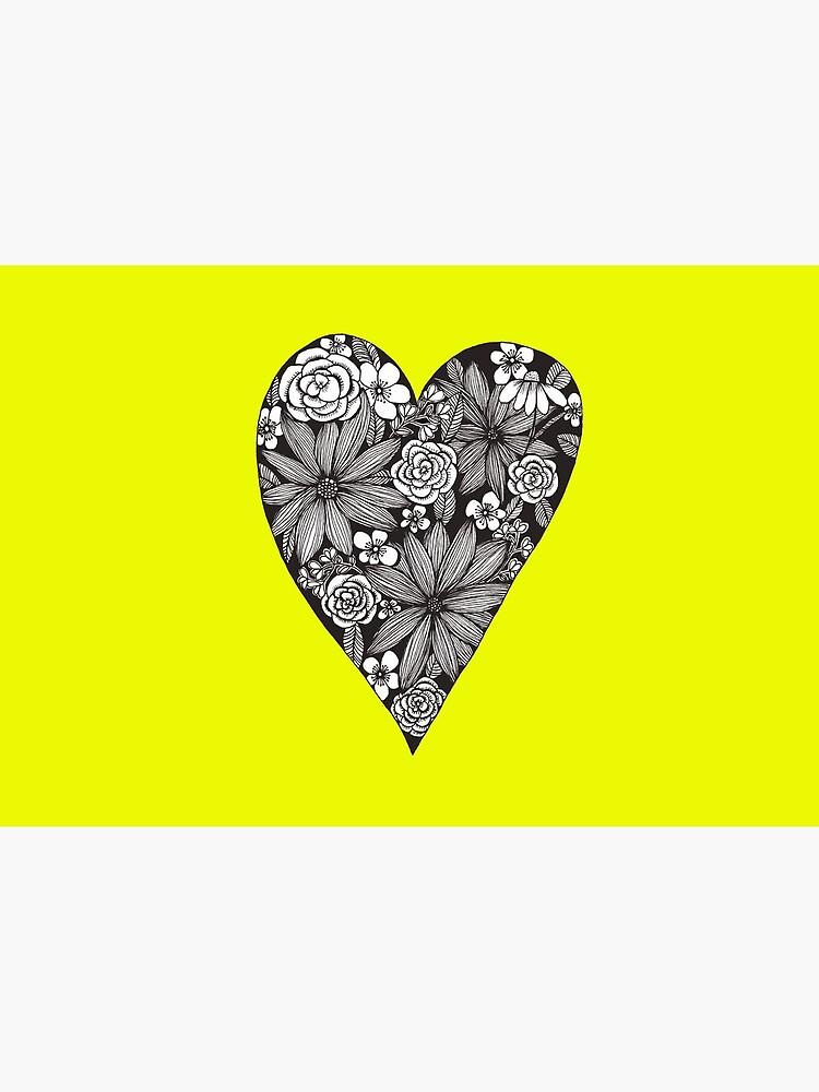 Schwarzes florales Herz von RanitasArt