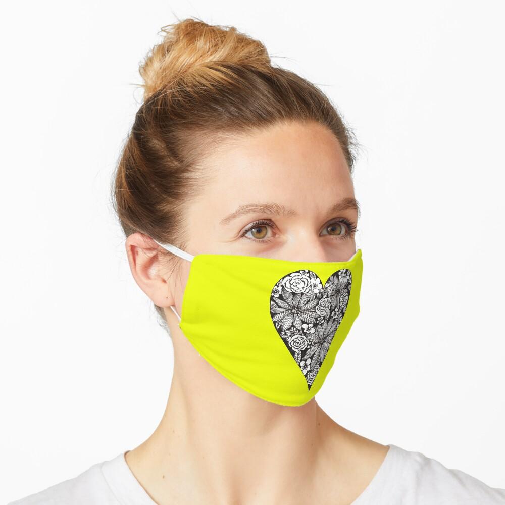 Schwarzes florales Herz Maske