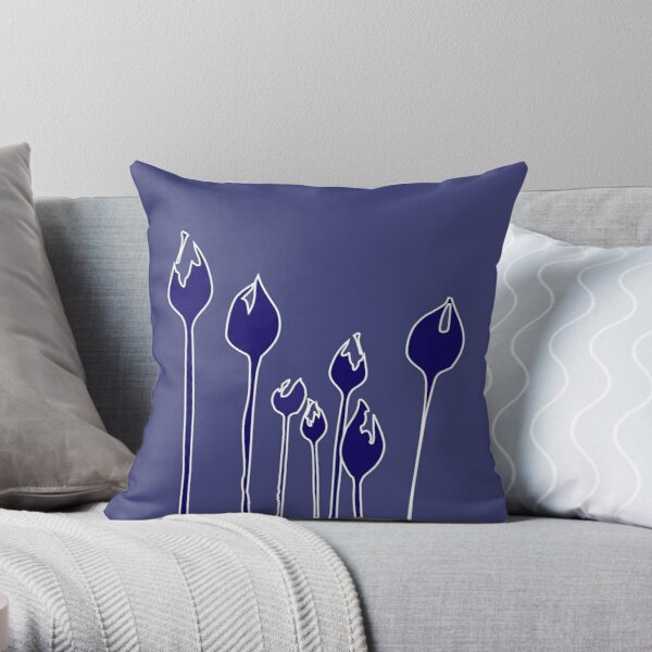 Elegant Art Deco wild tulip flowers dancing in the wind - Navy royal electric blue Throw Pillow