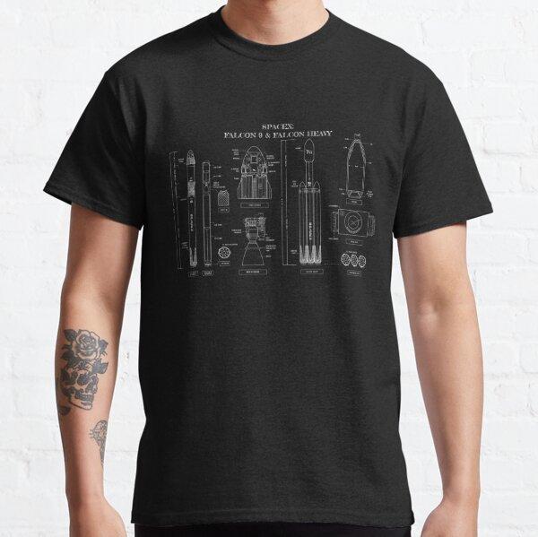 SPACEX: Falcon 9 & Falcon Heavy (White Stencil-No Background) Classic T-Shirt