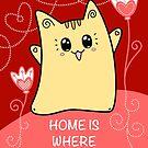Nette Kawaii Katze Neko Yoko - Haus der Liebe von Natalie Cat