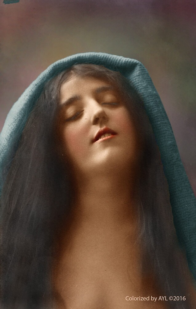 Colorized Vintage Portrait of a Woman in Ecstasy circa 1910 by lexmil