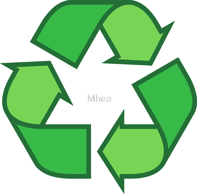 Recycling symbol stickers and tote bags three shades of green by mhea