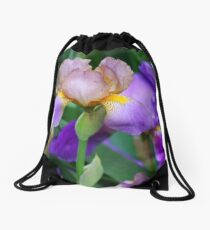 Beautiful PURPLE IRISES Drawstring Bag