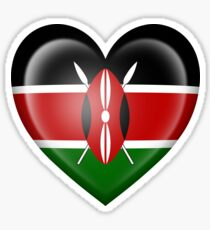 Kenyan Heart Flag Sticker