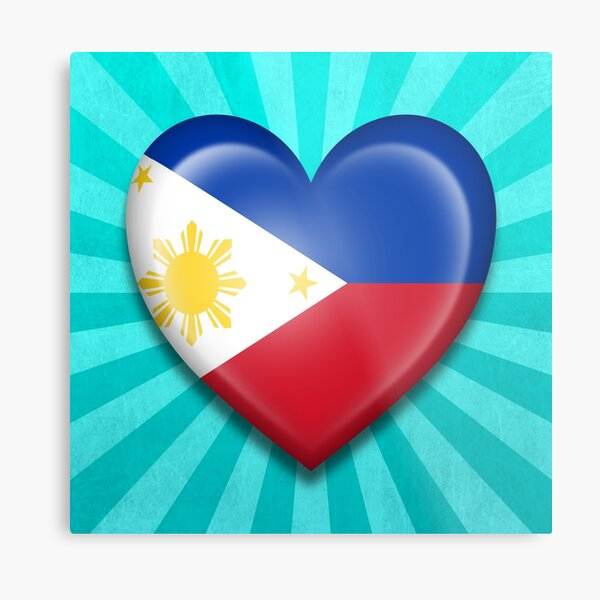 Filipino Heart Flag Metal Print