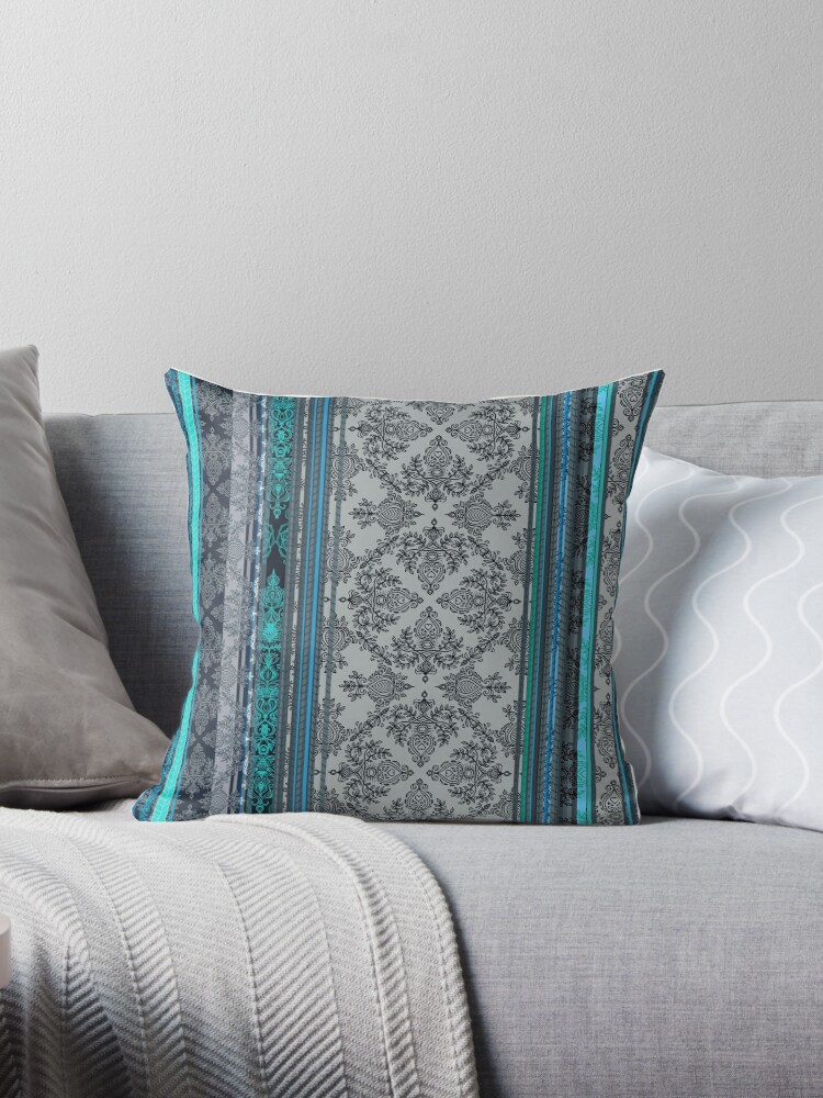 Quot Teal Aqua Amp Grey Vintage Bohemian Wallpaper Quot Throw