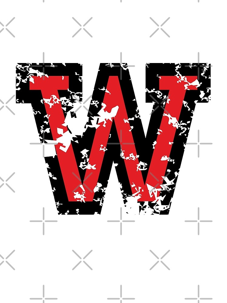 Quot Letter W Distressed Two Color Black Red Character Quot By