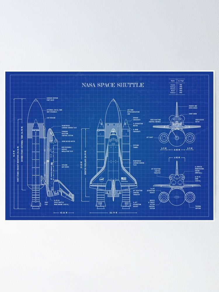 Alternate view of NASA Space Shuttle (Blueprint) Poster