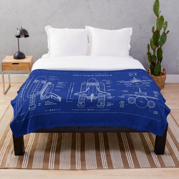 NASA Space Shuttle (Blueprint) Throw Blanket