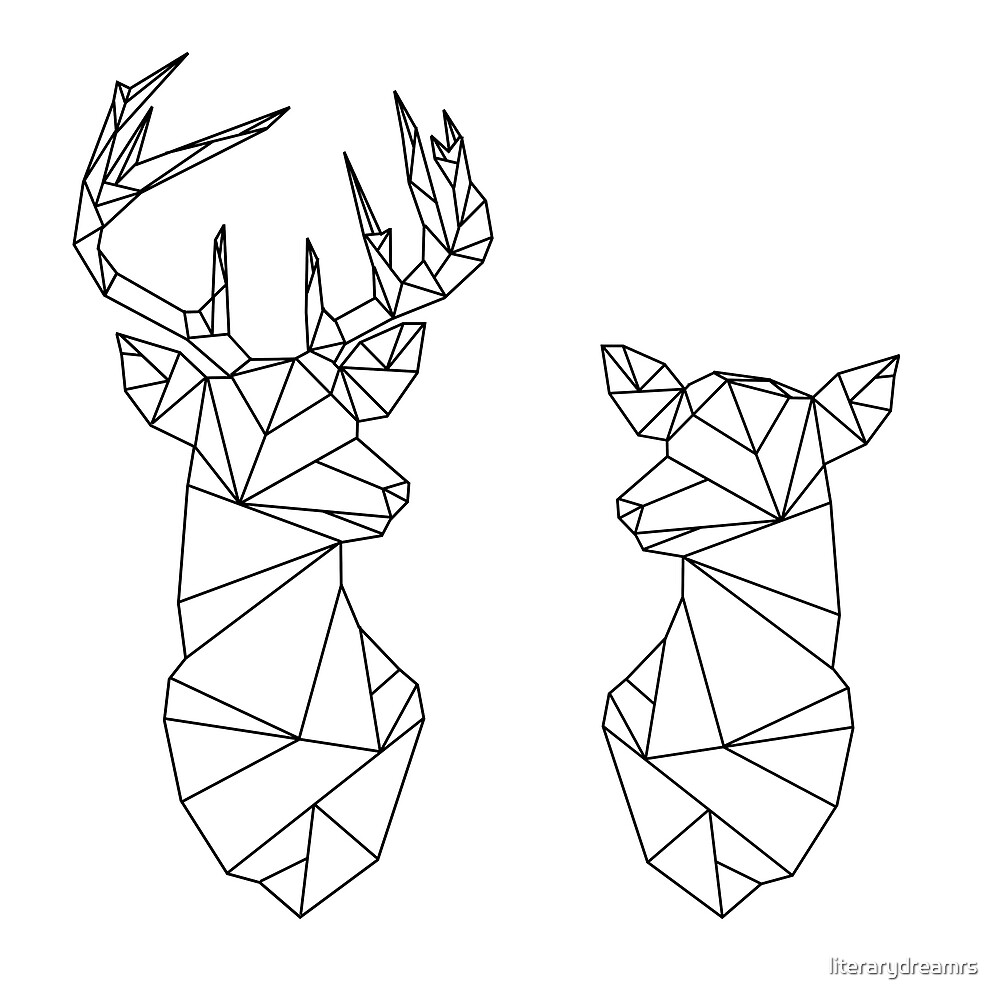 Quot Geometric Stag And Doe Quot By Literarydreamrs Redbubble
