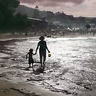 Late Afternoon on Lorne Beach by Roz McQuillan