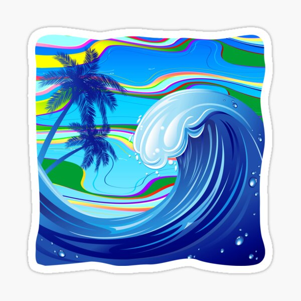 Sea Ocean big Wave Water  Sticker