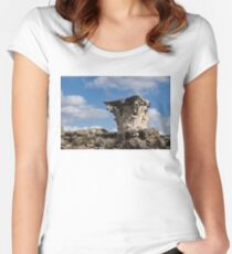Ancient Pompeii Broken Treasures - Classical Corinthian Column Capital Right Women's Fitted Scoop T-Shirt