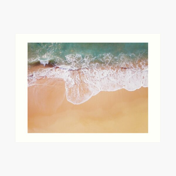 Sand and sea, crashing waves Art Print