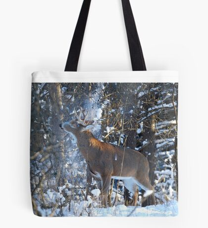 Snow Shower - White-tailed Buck Tote Bag