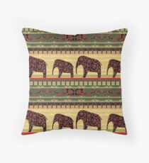 African print with elephants Throw Pillow