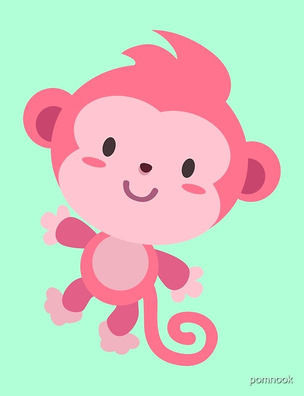 """""""Cute Pink Monkey Design"""" by pomnook 