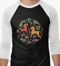 Volkspferde Muster Baseballshirt mit 3/4-Arm