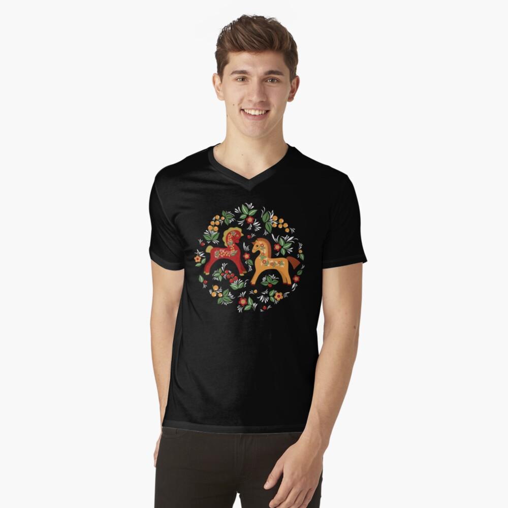 Patrón de caballos populares Camiseta de cuello en V