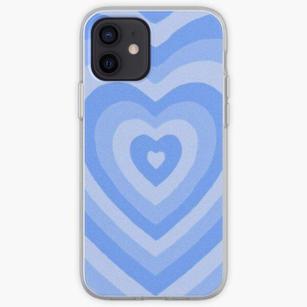 aesthetic blue wildflower latte heart iPhone Soft Case