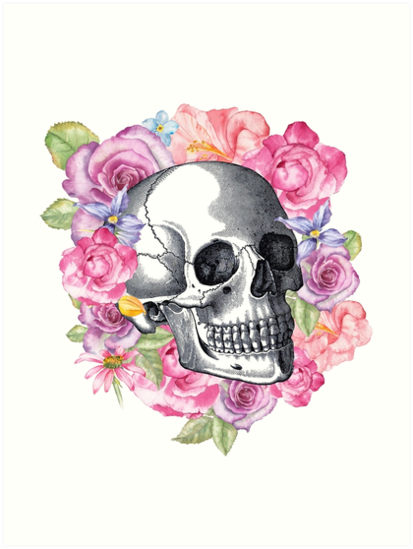 Floral Schädel Print, Alternative Hochzeitsgeschenk, floral Anatomie ...