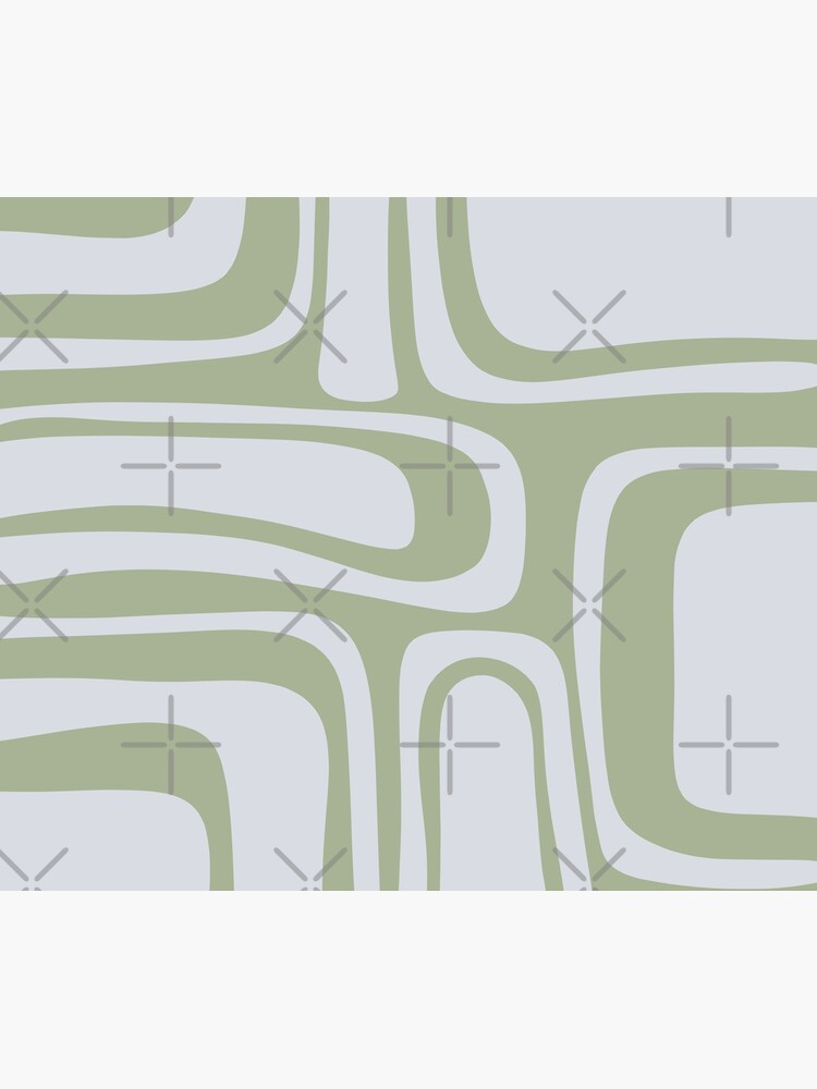 Palm Springs Midcentury Modern Abstract Pattern in Sage Green and Pale Silver Grey by kierkegaard