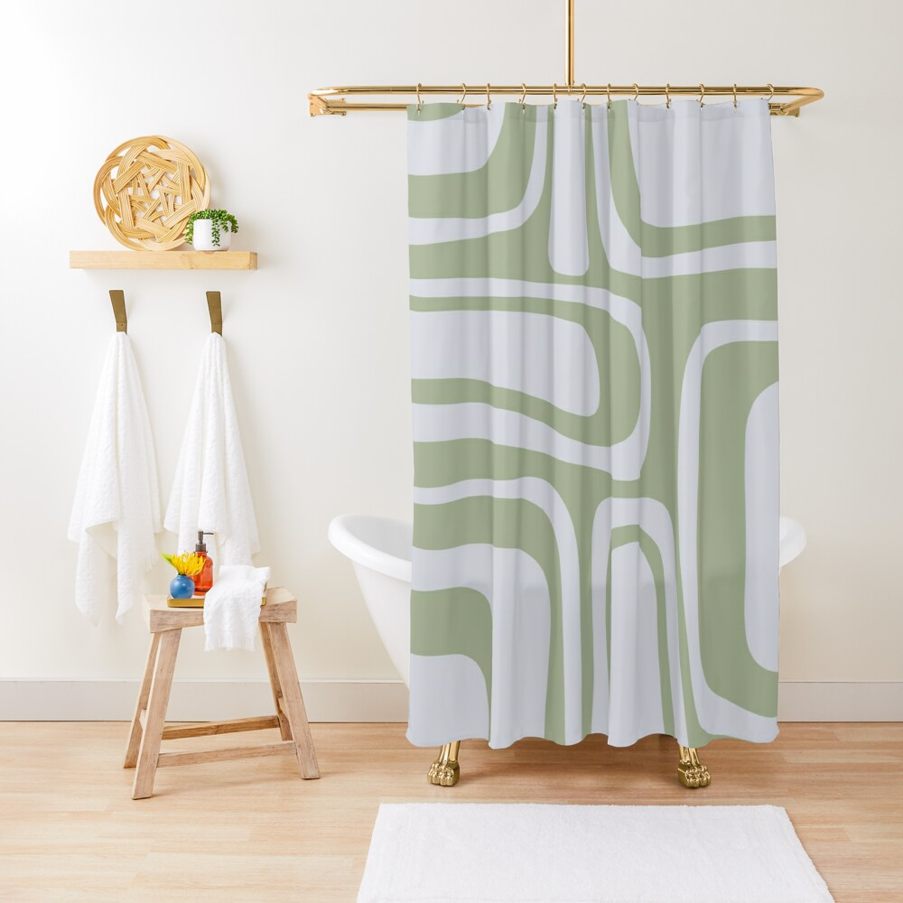 Palm Springs Midcentury Modern Abstract Pattern in Sage Green and Pale Silver Grey Shower Curtain