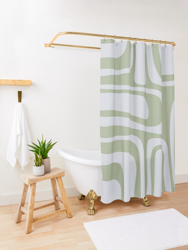 Alternate view of Palm Springs Midcentury Modern Abstract Pattern in Sage Green and Pale Silver Grey Shower Curtain
