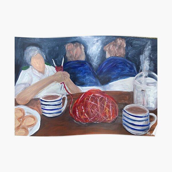 Knitting on the nightshift, nurse art Poster