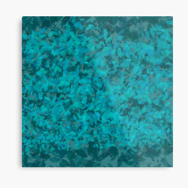 Teal Blue Green Leaves Metal Print