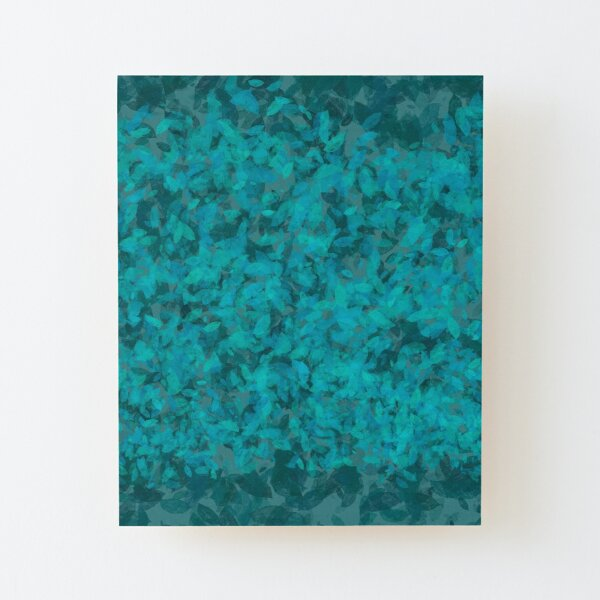 Teal Blue Green Leaves Wood Mounted Print