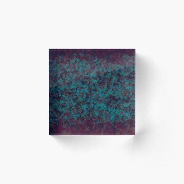 Blue Green Plum Leaves Acrylic Block