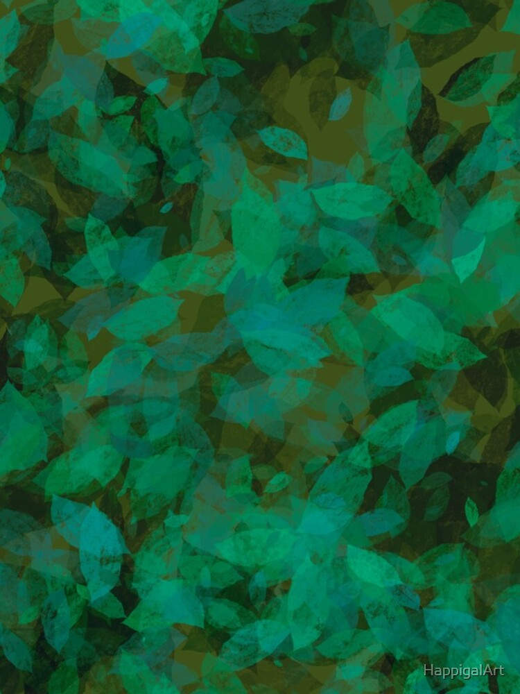 Earthy Green Leaves by HappigalArt