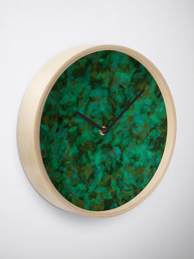 Alternate view of Earthy Green Leaves Clock