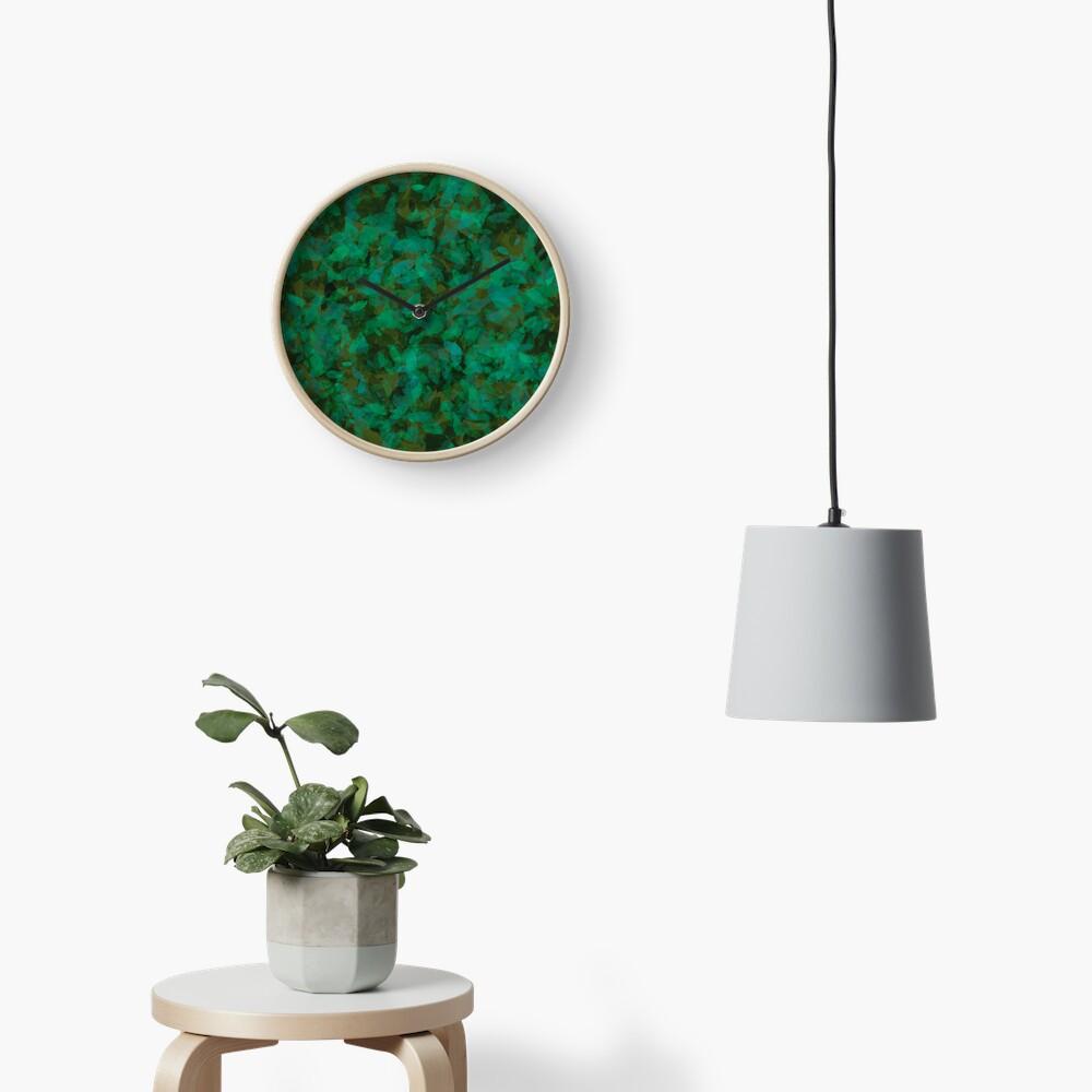 Earthy Green Leaves Clock