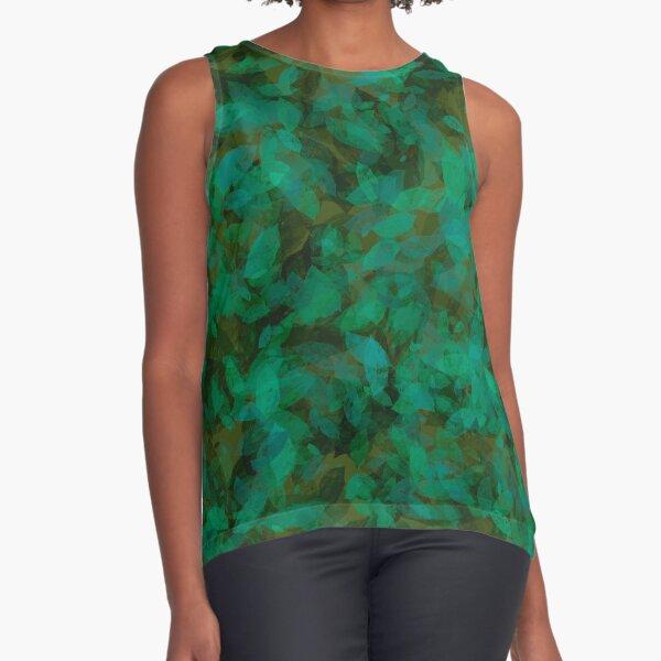 Earthy Green Leaves Sleeveless Top