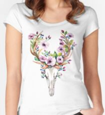 Boho watercolour skull with purple flower crown Women's Fitted Scoop T-Shirt
