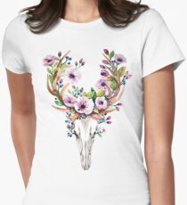 Boho watercolour skull with purple flower crown T-Shirt