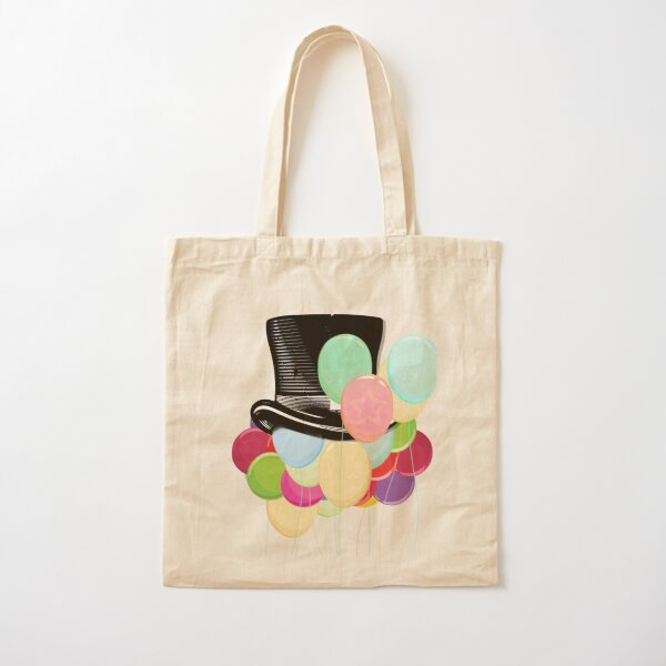 Colorful Balloons with Steampunk Hat Cotton Tote Bag