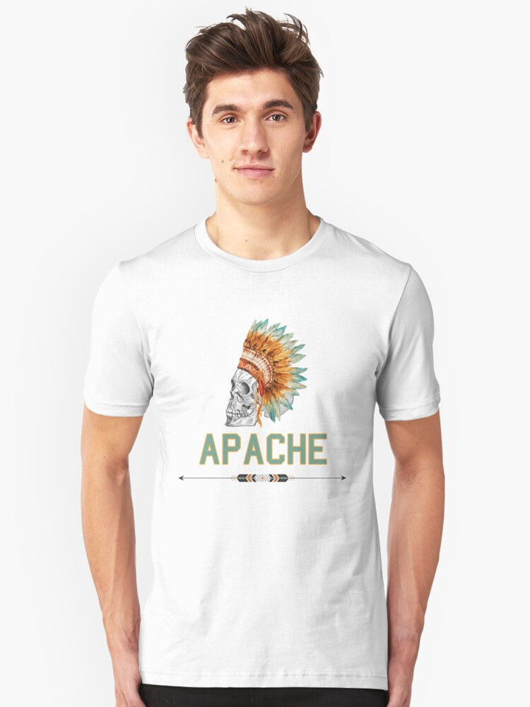 Apache Skullhead indians tribal feather Graphic T-shirt Unisex T-Shirt Front