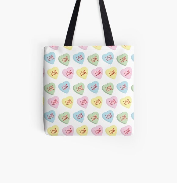 Candy Hearts All Over Print Tote Bag
