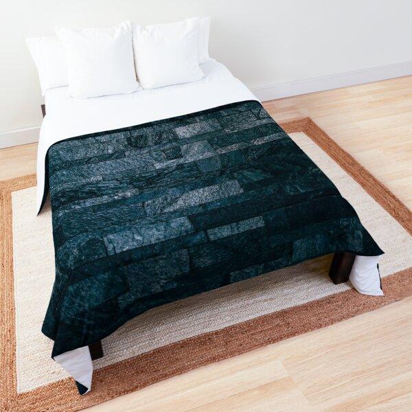 Blue bricks,navy Geometric stone decor Comforter