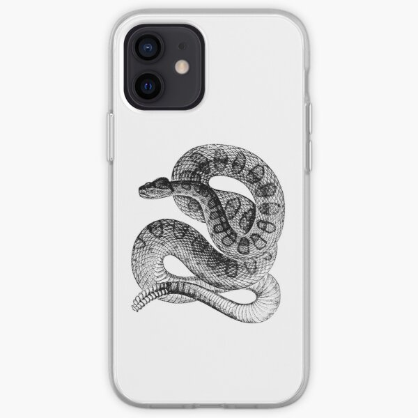 Vintage Rattlesnake Illustration Retro 1800s Black and White Poisonous Snakes Image iPhone Soft Case